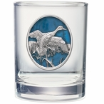 Pintail Duck Blue Pewter Accent Double Old Fashion Glasses, Set of 2