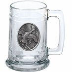 Pintail Duck Glass Beer Mug with Pewter Accent