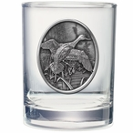 Pintail Duck Pewter Accent Double Old Fashion Glasses, Set of 2