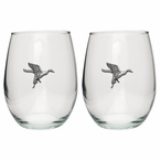 Pintail Duck Pewter Accent Stemless Wine Glass Goblets, Set of 2