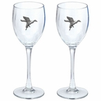 Pintail Duck Pewter Accent Wine Glass Goblets, Set of 2