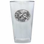 Pintail Duck Pint Beer Glasses with Pewter Accent, Set of 2
