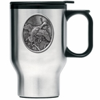 Pintail Duck Stainless Steel Travel Mug with Handle and Pewter Accent