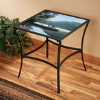 Place to Ponder Metal Accent Table with Glass Top
