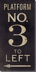 Platform No. 3 Sign Wrapped Canvas Giclee Print Wall Art