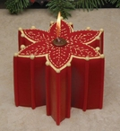 Poinsettia Flower Christmas Candles, Set of 4