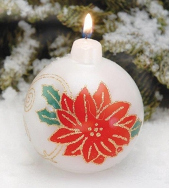 Poinsettia Flower Ornament Design Christmas Ball Candles, Set of 6