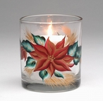 Poinsettia Glass Votive Candle Holder, Set of 4