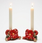 Poinsettia Porcelain Taper Candle Holders, Set of 2