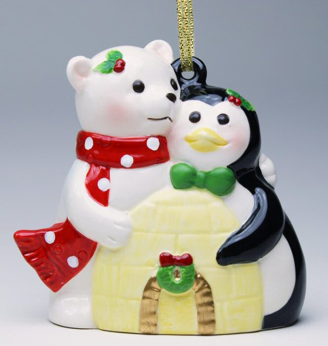 polar bear and penguin christmas tree ornaments set of 4