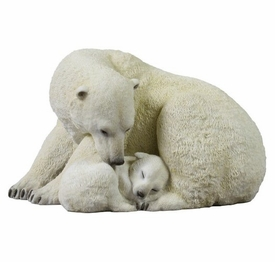 Polar Bear Cub Cuddling with Mother Sculpture