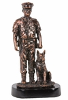 Policeman with Dog Statue - Antique Bronze Finish