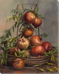 Pomegranates in a Basket Wrapped Canvas Giclee Print Wall Art