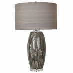 Pompe Ceramic and Crystal Table Lamp with Multi Color Linen Shade