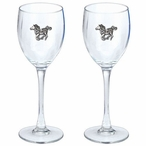 Pony Pewter Accent Wine Glass Goblets, Set of 2