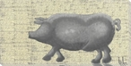 Porc Pig Walking Wrapped Canvas Giclee Print Wall Art