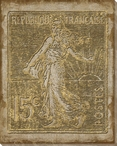 Poste Francaise Light Trois Stamp Wrapped Canvas Giclee Print Wall Art