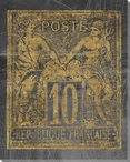 Poste Francaise Quatre Stamp Wrapped Canvas Giclee Print Wall Art