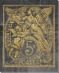 Poste Francaise Un Stamp Wrapped Canvas Giclee Print Wall Art