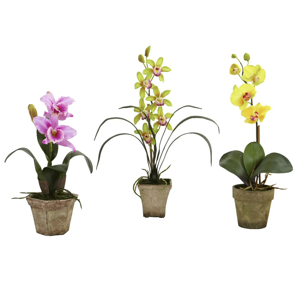 Potted purple yellow orchid silk flower arrangement set of 3 potted purple yellow orchid silk flower arrangement set of 3 mightylinksfo