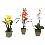 Potted Red Yellow White Orchid Silk Flower Arrangement, Set of 3