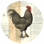 Poulet De Campagne Rooster Round Coasters by Pierre Lapin, Set of 8