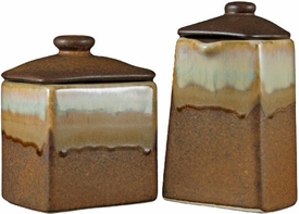 Prado Stoneware Creamer and Sugar Canisters Set - Rustic Brown