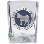 Proud To Be A Democrat Blue Pewter Accent Shot Glasses, Set of 4
