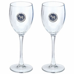 Proud To Be A Democrat Blue Pewter Accent Wine Glass Goblets, Set of 2