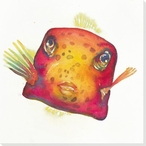 Puffer Fish Wrapped Canvas Giclee Print Wall Art