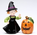 Pumpkin and Witch Porcelain Salt and Pepper Shakers, Set of 4