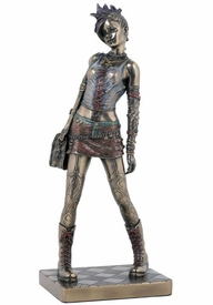 Punk Rocker Girl Walking Bronze Sculpture