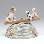 Puppies on a Seesaw Musical Music Box Sculpture