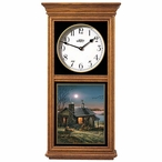Pure Contentment Cabin with Dog Outside Medium Oak Wood Wall Clock