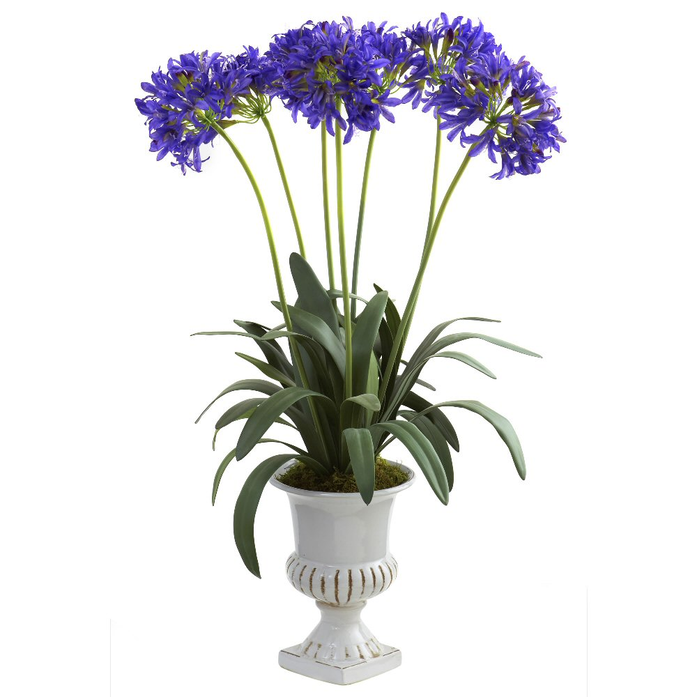 Purple African Lily Silk Flower Arrangement With Urn Artificial