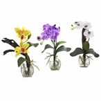 Purple Yellow White Orchid Silk Flower Arrangement with Cube, Set of 3
