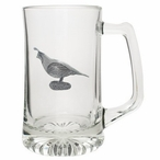 Quail Bird Glass Super Beer Mug with Pewter Accent