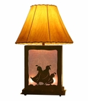 Quail Family Scenic Metal Table Lamp with Night Light