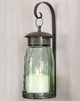 Quart Mason Jar Glass and Metal Hanging Candle Wall Sconce