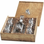 Quarter Horse Capitol Decanter & DOF Glasses Box Set w/ Pewter Accents