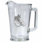Quarter Horse Glass Pitcher with Pewter Accent