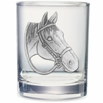 Quarter Horse Pewter Accent Double Old Fashion Glasses, Set of 2