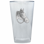Quarter Horse Pint Beer Glasses with Pewter Accent, Set of 2