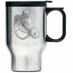 Quarter Horse Stainless Steel Travel Mug with Handle and Pewter Accent