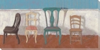 Quartet with Shy One Four Chairs Wrapped Canvas Giclee Print Wall Art