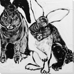 Rabbit Charcoal 1 Wrapped Canvas Giclee Print Wall Art