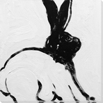 Rabbit Charcoal 3 Wrapped Canvas Giclee Print Wall Art