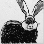 Rabbit Charcoal 4 Wrapped Canvas Giclee Print Wall Art