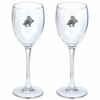 Rabbit Pewter Accent Wine Glass Goblets, Set of 2