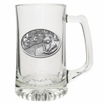 Raccoon Glass Super Beer Mug with Pewter Accent